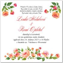 Svatební oznámení s růžemi 1051