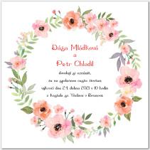 Svatební oznámení s květinovým věncem 1052