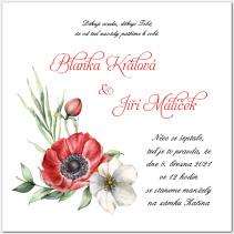 Svatební oznámení s akvarelovými květy 1054