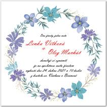 Svatební oznámení s věncem fialových květů 1055