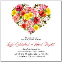 Svatební oznámení se srdcem z lučních květů 1056