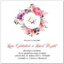 Svatební oznámení s květinami 1057