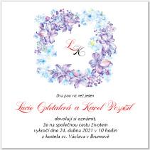 Svatební oznámení s fialovými květy 1059