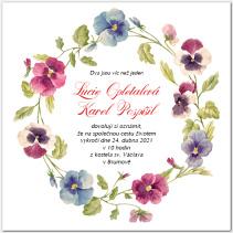 Svatební oznámení s květy macešek 1060