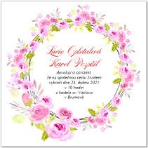 Svatební oznámení s věncem růží 1062