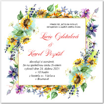 Svatební oznámení s rámem z kvítí 1063