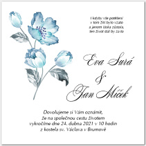 Svatební oznámení s modrou květinou 1065