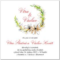 Svatební oznámení s květinovou podkovou 1068
