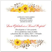 Svatební oznámení se žlutými květy 1069