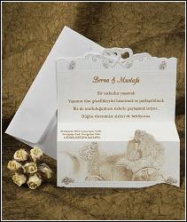 Jednodílné rozkládací svatební oznámení se svatebním kočárem vzor 2352