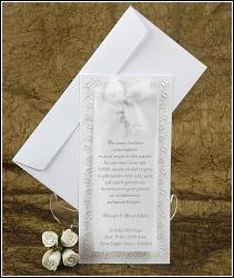Světlé svatební oznámení podlouhlého tvaru s mašlí vzor 2368