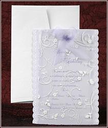 Fialové svatební oznámení vzor 2447 s mašlí