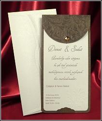 Originální dvoudílné svatební oznámení 2530 s krystalem.