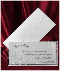 Dvoudílné svatební oznámení 2548 s jemnými florálními motivy na průhledném dílu.