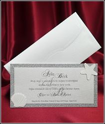 Stříbrné svatební oznámení 2561 s mušlí a hvězdicí.