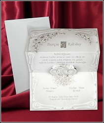 Rozkládací svatební oznámení 2574 listina se srdíčky.