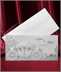 Svatební oznámení vzor 2578 s kočárem a koněm