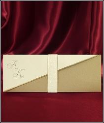 Přepásané svatební oznámení 2582 ve zlatých tónech se strukturou kůže