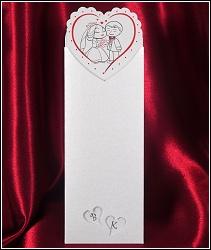 Štíhlé vysouvací svatební oznámení 2587 s obrázkem novomanželů v srdíčku.