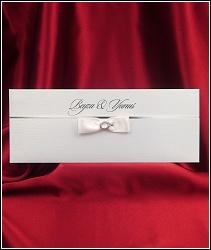Vysouvací bílé svatební oznámení 2611 s mašlí.