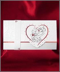 Rozkládací veselé svatební oznámení 2612 s obrázkem v srdci.