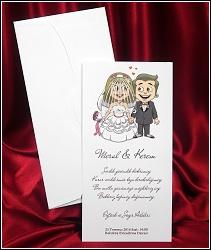 Veselé svatební oznámení 2618 s obrázkem novomanželů a s průhledným závojem