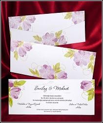Potištěné svatební oznámení 2620 s fialovými květinami