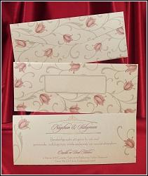 Květinové svatební oznámení 2621 s potištěnou obálkou