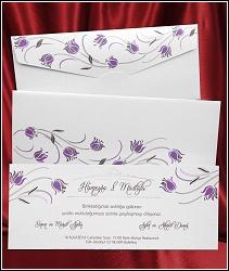 Jednodílné svatební oznámení 2623 s fialovými květinami