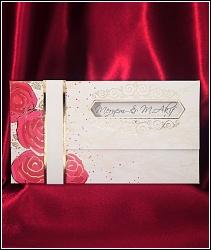 Rozkládací svatební oznámení 2627 s červenými květy