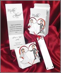 Skládací svatební oznámení 2628 s krabičkou a tančícím párem.