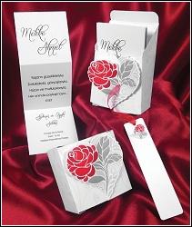 Skládací svatební oznámení 2629 v krabičce s růží