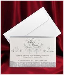 Jednodílné svatební oznámení 2631 se stříbrnými ornamenty