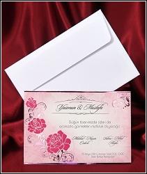 Jednoduché svatební oznámení 2636 zdobené růžovými květy