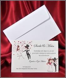 Jednodílné malované svatební oznámení 2638 s postavičkami novomanželů