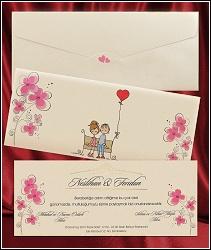 Kreslené svatební oznámení 2640 s květinami