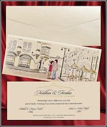 Svatební oznámení vzor 2643 s obrázkem na obálce - milenci randícími v historickém městě