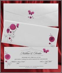 Kreslené svatební oznámení 2645 s květinami a motýlkem