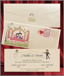Kreslené svatební oznámení 2646 s manželským párem
