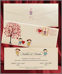 Ilustrované svatební oznámení 2647 s postavičkami a srdíčkovým stromem