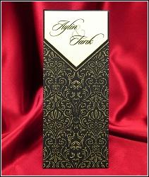 Zlatě zdobené vysouvací svatební oznámení 2649 s ornamenty
