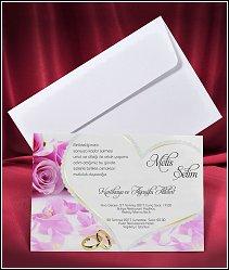 Svatební oznámení vzor 2652 s velkým srdcem, růžovými květy růží a zlatými snubními prsteny