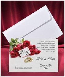 Svatební oznámení vzor 2653 s kyticí rudých růží