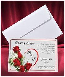 Svatební oznámení vzor 2656 s rudými růžemi