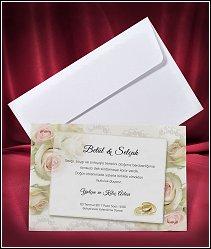 Svatební oznámení vzor 2659 s růžemi a zlatými prstýnky