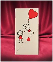 Rozkládací svatební oznámení s naivním obrázkem postaviček a červenými srdíčky 2669.