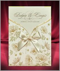 Svatební oznámení s květovanou kapsou a s velkou mašlí 2672.