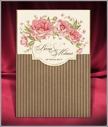 Dvoudílné vysouvací svatební oznámení s proužkovanou kapsou z recyklovaného papíru 2675.