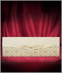 Otevírací dvoudílné svatební oznámení se zlatou výzdobou a s ozdobnou stužkou 2677.