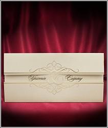 Svatební oznámení ve formě karty se zlatým znakem & a s přebalem 2682.